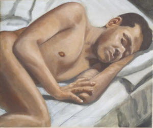 Oil painting of a sleeping male figure, brown flesh tones on a grey and olive-green background of sheets