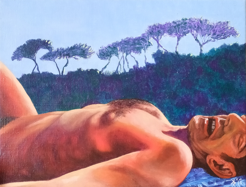 Torso and face of a reddish figure sleeping on a beach towel, with a row of umbrella pines on a twilit ridge behindon a beach