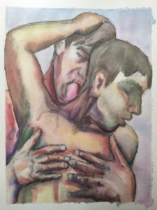 Ink and pencil artwork of two youths showering together and embracing, showing heads and upper bodies