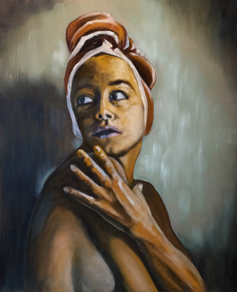 Oil painting of a beautiful woman wearing an exotic headscarf looking over her shoulder in apprehension. Hitchcock lighting.
