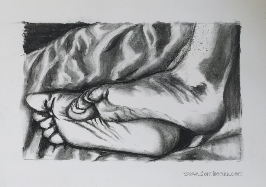 A charcoal-on-paper drawing of two feet resting on sheets