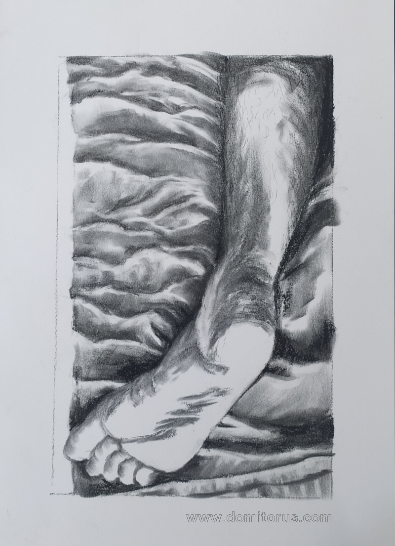 A charcoal-on-paper drawing of a right foot resting on sheets, sole upwards