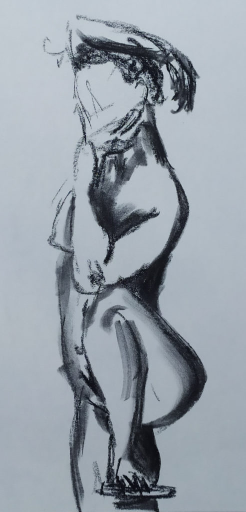 Woman standing, left foot up on stool right arm thrown over head, chin on left hand, left arm resting on drawn-up knee.