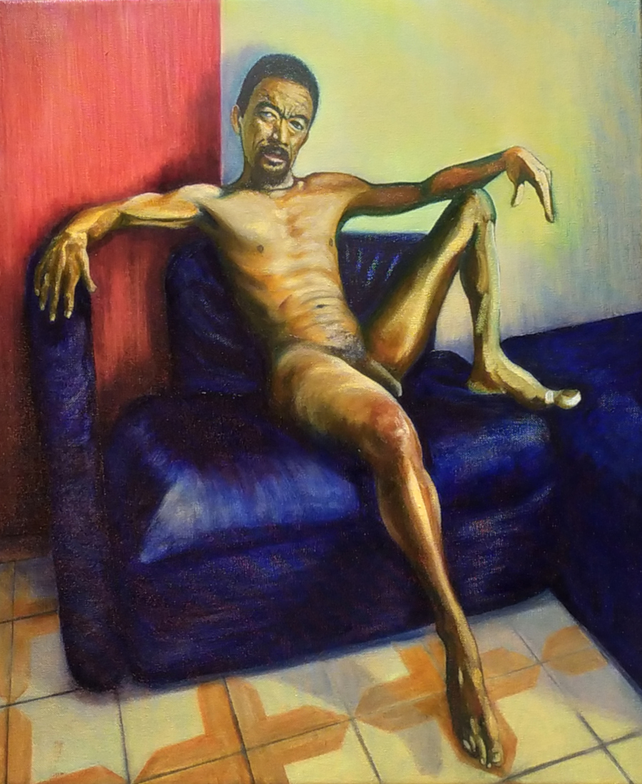 Oil painting of a naked dark-skinned man, 50s, reclining on a leather couch, looking forwards and slightly upwards at the viewer, sunlit from the right.