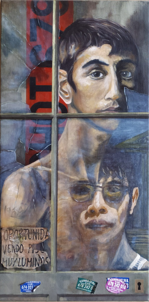 Oil painting in olive tones of a youth gazing out of an early 20C window with broken panes. Behind on the wall is a modern sign in orange with a phone number. Reflected in the glass another face and part of a cityscape.