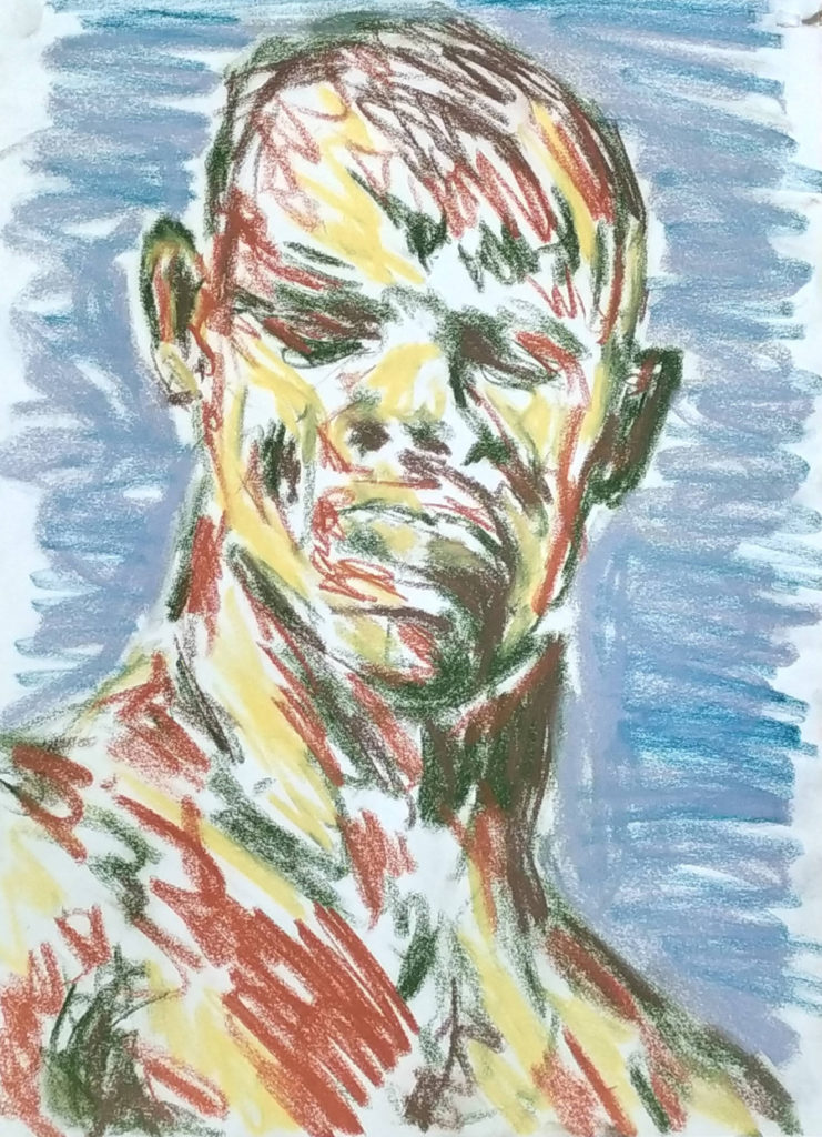 A head facing, upper torso at quarter view. Drawn in sanguine, green, yellow, grey and blue crayon