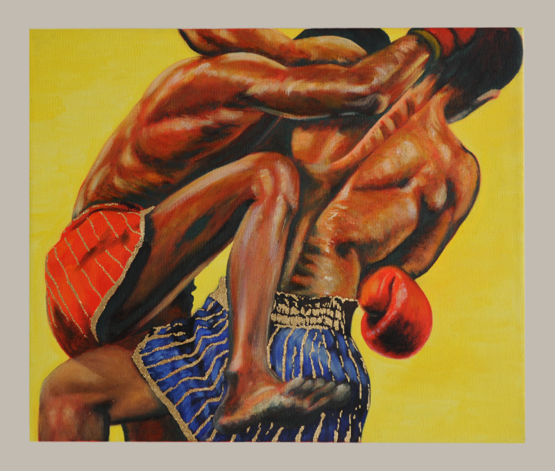 Two boxers' torsos from behind dressed in red (left) and blue (right) boxer shorts, locked in combat, faces not visible. One fighter has his leg drawn up to kick. Gold leaf decoration on both boxer shorts.