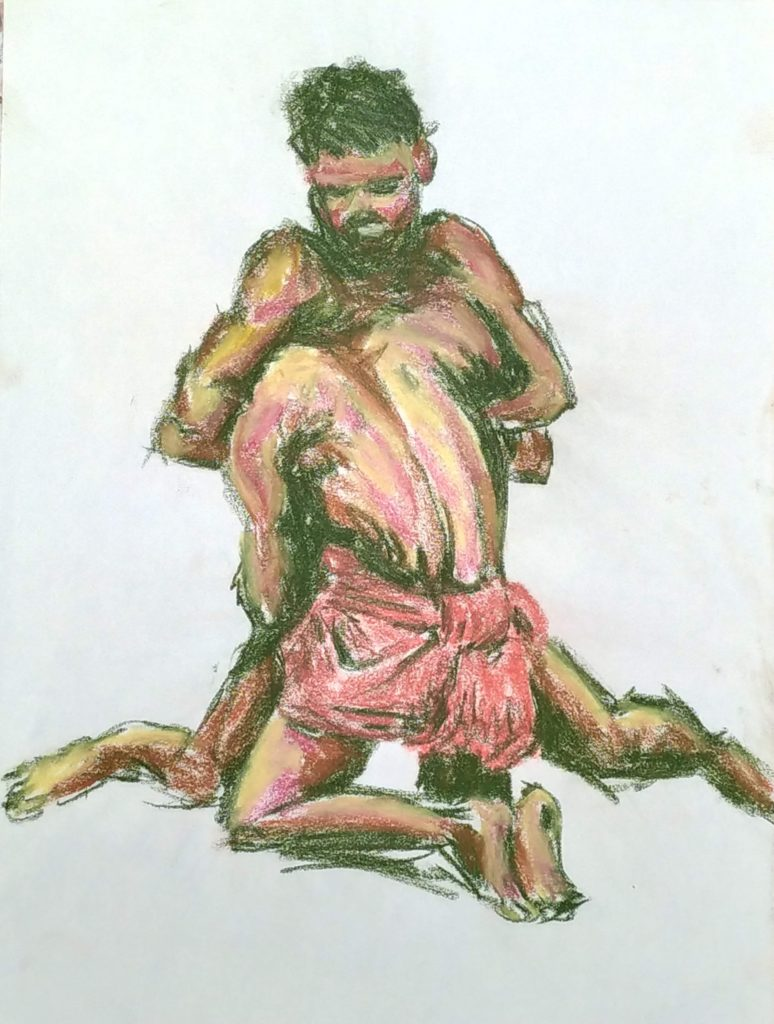 Two figures locked in combat on their knees; one facing us; the other facing away, his head under the other's arm. Drawn in sanguine, green, yellow and pink crayon