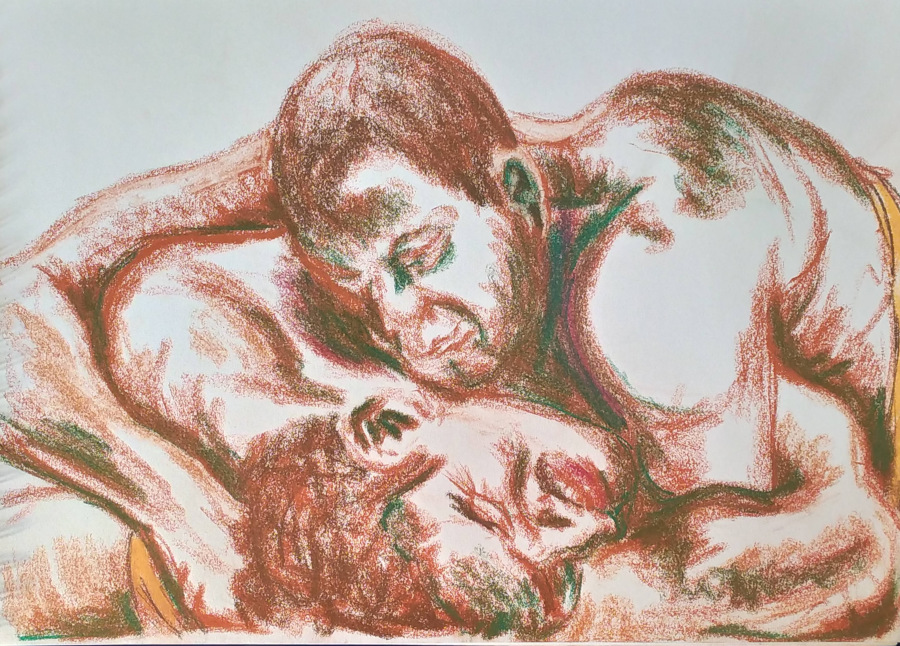 Two figures close up, only faces, shoulders and arms visible, locked in love or combat. Drawn in terracotta and green crayon.