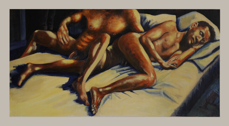 Two naked men in bed, one sleeping, turned towards us with leg drawn up, the other behind him, seen from the neck down, getting into or out of bed. In the dimly lit background, two trousered legs stand in a doorway. In the dimly lit foreground, a tumbler of red wine has been spilt. The figures are harshly lit in yellow electric light with bold indigo shadows. Their bodies are terracotta and earth tones.