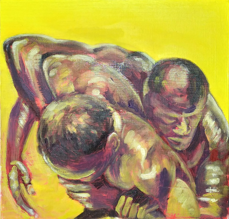 Two figures wrestling one behind the other, only one face, heads, shoulders and arms visible, gripping each other's wrists. Brilliant yellow background.